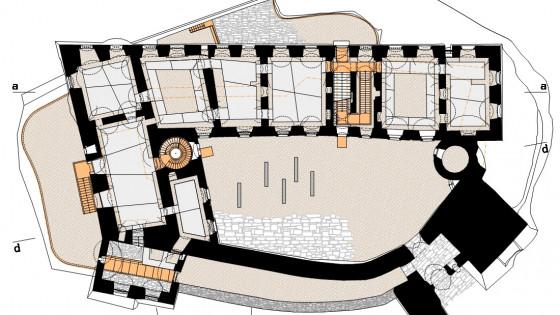 hrad Helfštýn - půdorys přízemí