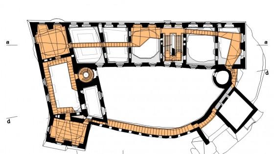 hrad Helfštýn - půdorys patra
